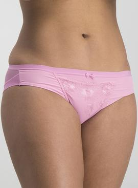 Bright Pink Embroidered Brazilian Knickers