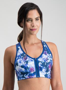 Active Blue Floral Print high Impact Sports Bra