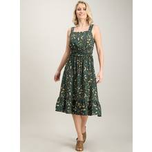 Bottle Green Floral Print Shirred Sundress