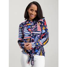 Multicoloured Boat Print Tie Front Shirt