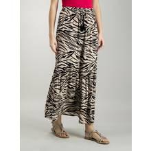Beige Zebra Print Crinkle Maxi Skirt