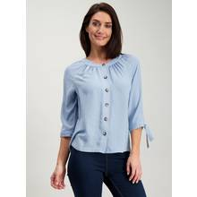 White Round Neck Button Blouse