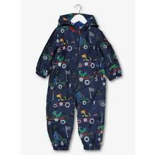 Navy Dino Car Fleece Lined Puddlesuit