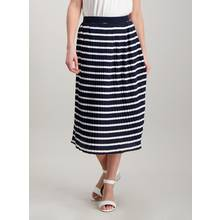 Navy & Cream Stripe Pleated Jersey Skirt