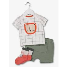 Multicoloured Lion Top & Trousers With Socks 3 Piece Set