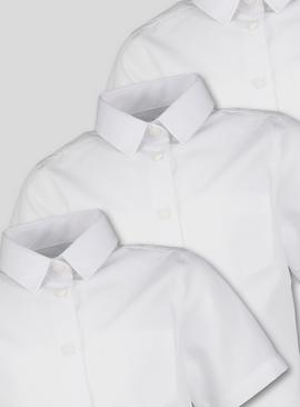 White Woven Short Sleeve Regular Fit Shirts