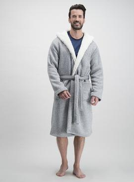 Charcoal Grey Herringbone Borg Hooded Dressing Gown