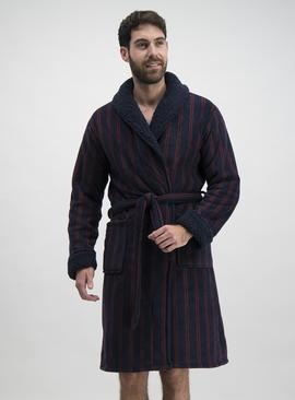 Navy & Dark Red Stripe Borg Fleece Dressing Gown