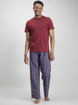 Dark Red & Navy Check Pyjamas