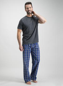 Online Exclusive Charcoal Grey & Cobalt Blue Check Pyjamas
