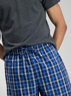 Charcoal & Cobalt Blue Check Shortie Pyjamas