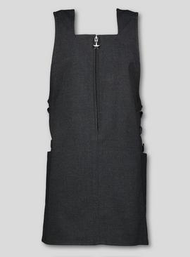 Grey Square Neck Pinafore