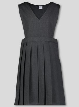 Grey V-Neck Pleated Pinafore Dress