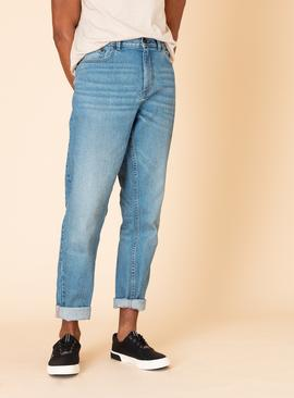 Blue Mid-Washed Denim Tapered Jeans With Stretch