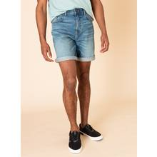 Blue Mid-Washed Denim Shorts With Stretch