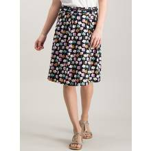 Black Floral Belted Short Skirt