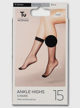 Black Lycra Ankle Highs 15 Denier 5 Pack - One Size