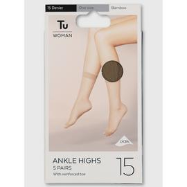 Bamboo Lycra Ankle High 15 Denier 5 Pack - One Size