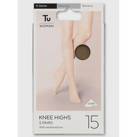Bamboo Lycra Knee High 15 Denier 5 Pack - One Size