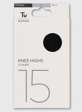 Black 15 Denier Knee High 5 Pack - One Size