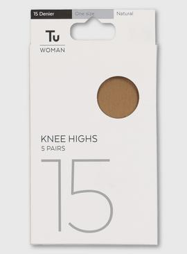 Caramel Nude Basic Knee Highs 15 Denier 5 Pack - One Size