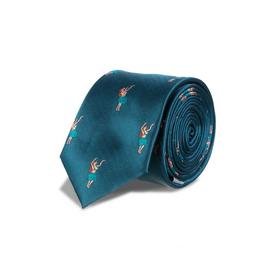 Teal Hula Girl Print Slim Tie - One Size