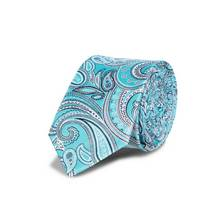 Aqua Blue Paisley Slim Tie - One Size