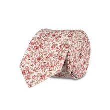 Cream & Pink Floral Cotton Tie - One Size