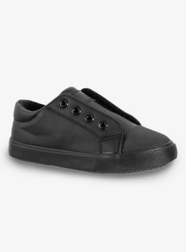 Black No Lace Leather Look Trainers