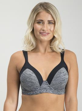 Active Black & Grey Space Dye Sports Bra