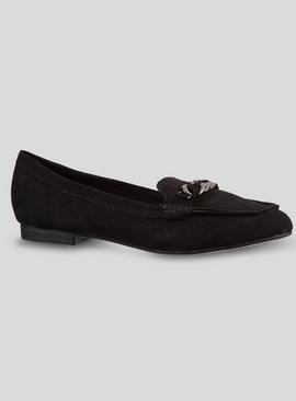 Sole Comfort Black Plait Chain Snaffle Loafers