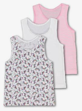 Multicoloured Unicorn Wide Strap Vest 3 Pack