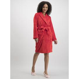 Red Textured Fleece Dressing Gown