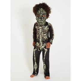 Halloween Black Skeleton Costume With Mask