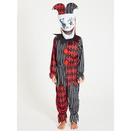 Halloween Black & Red Clown Costume & Mask