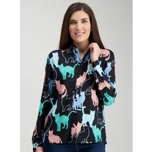 Multicoloured Cat Print Shirt