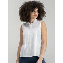 White Schiffli Sleeveless Shirt