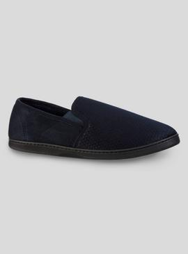Navy Textured Slippers