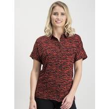 Dark Red & Black Animal Print Jersey Shirt