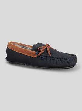 Navy Suede Contrast Tan Lace Moccasin Slippers