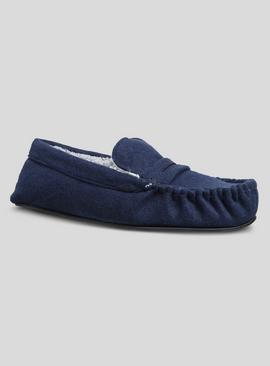 Navy Felt Saddle Moccasin Slippers