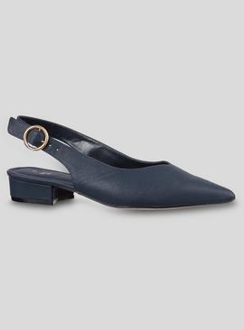 Online Exclusive Navy Pointed Slingback Shoes