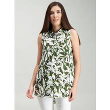 White & Green Palm Print Longline Shell