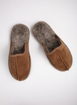 Tan Suede Faux Fur Lined Mule Slippers