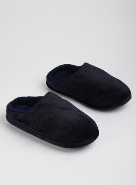 Navy Velour Mule Slipper