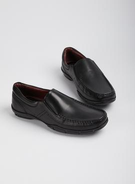 Sole Comfort Black Leather Wallabee Slip On