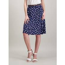 Navy & White Spot Belted Flippy Skirt