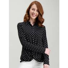 Monochrome Twist Front Spotted Shirt
