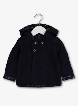 Navy Teddy Ear Hooded Cardigan