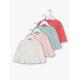 Multicoloured Long Sleeve Jersey Frill T-Shirts 4 Pack
